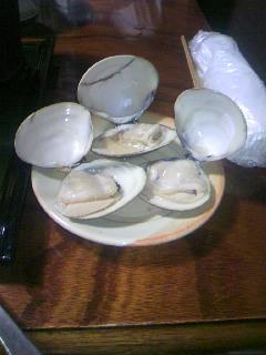 蛤の酒蒸しのできあがりです。