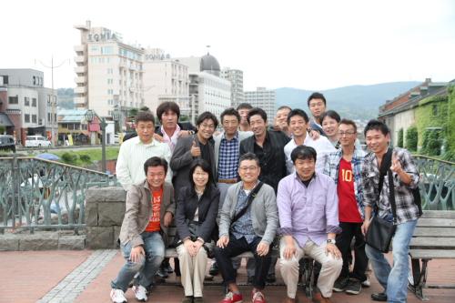 小樽運河で記念撮影